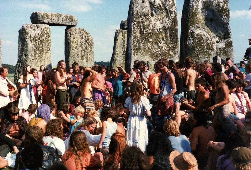 Stonehenge Free festival in the 60s