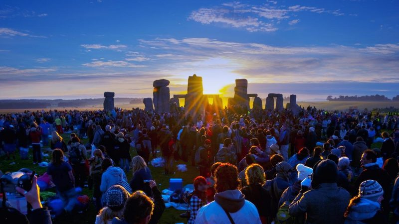 Summer solstice and sun rising in Stonehenge